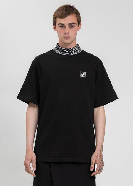 we11done High Neck Logo 1/2 T-Shirt - Black