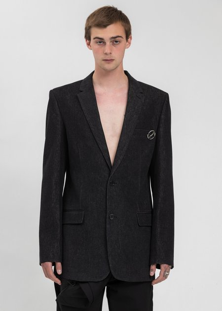 we11done Single Breasted Denim Blazer - Black