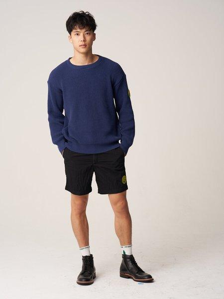 Plain Front Crewneck Sweater - Navy