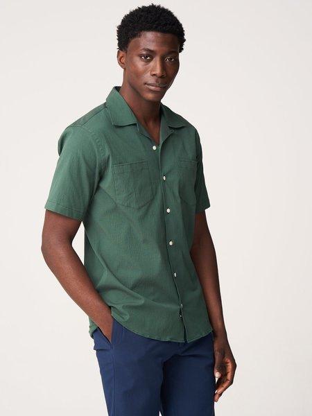 Freemans Sporting Club Overdyed Seersucker Short Sleeve Camp Collar Shirt - Olive