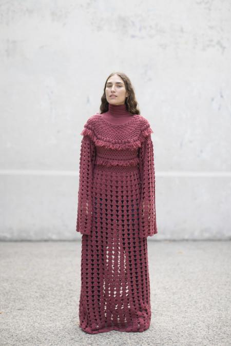 Ryan Roche Fringed Long Crochet Dress in Cardinal