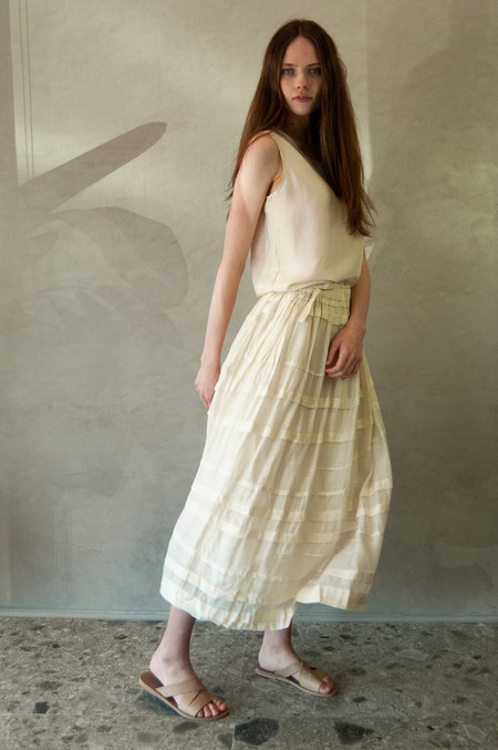 Runaway Bicycle Lucia Skirt - Ivory/White Stripes