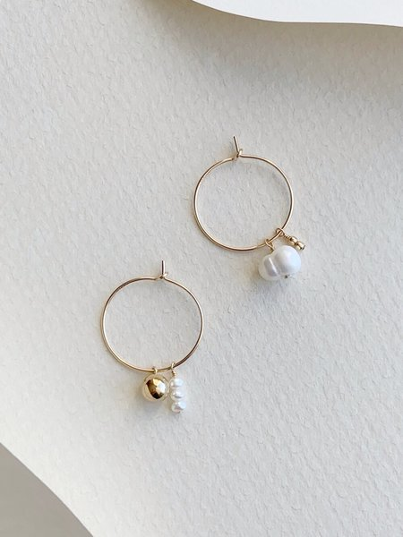 HighLow Sfera Pearl Hoops - gold