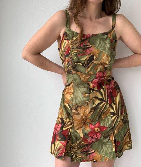 Vintage tropical Floral Dress - multi