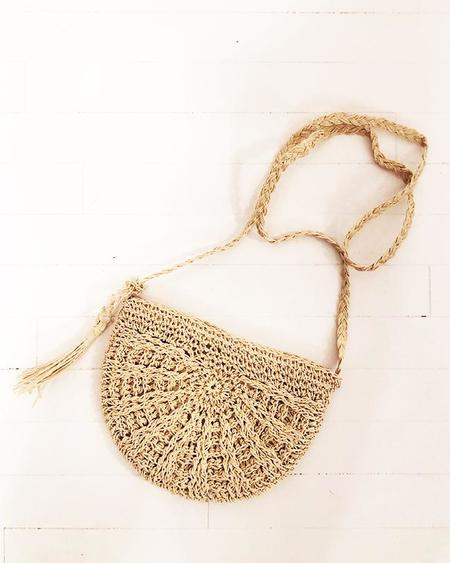 PERSONS Semicircle Straw Crossbody Bag - Sand