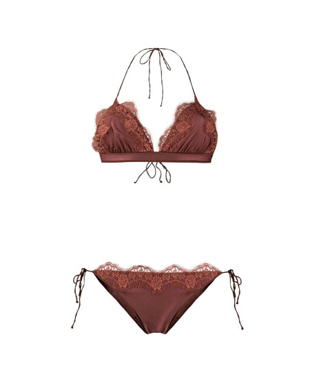 Oseree Bikini with Lace Edge - Broiwn
