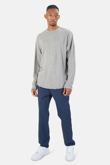Henleys James Perse Shirttail Hem Crew LS T-Shirt - heather Grey