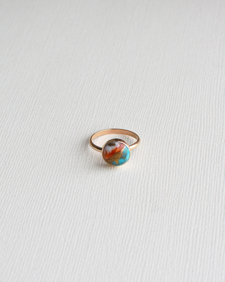 Gem & Blue Oyster Turqoise Ring - Gold