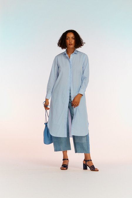 Baserange Ole Shirt Dress - Blue Stripe