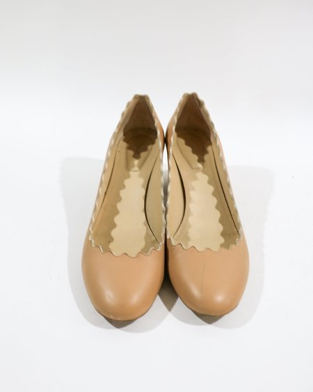 [Pre-loved] Chloe The Scalloped Low Pump - Nude