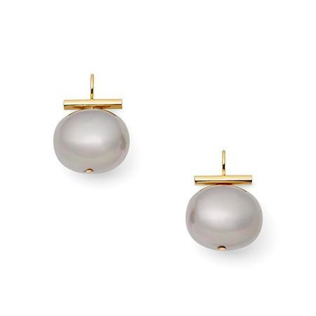 Catherine Canino Lrg Pebble Pearl Earring - 18K matte Gold