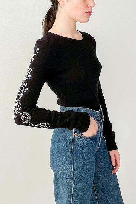 Vintage Embellished Top - Black