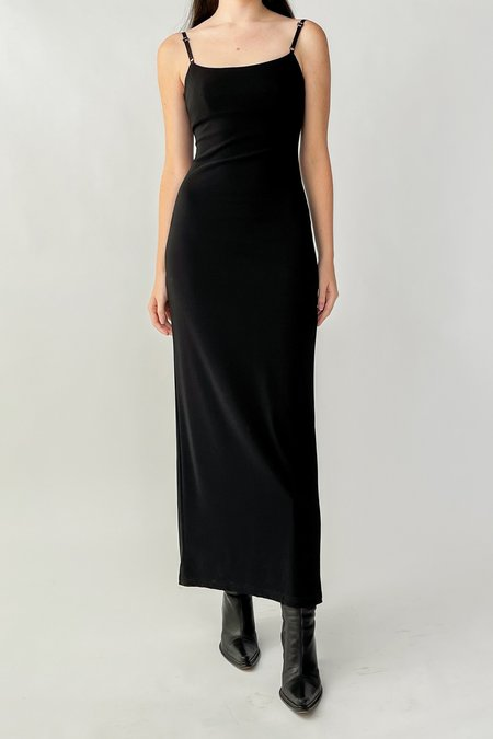Vintage Minimalist Square Neck Dress - Black