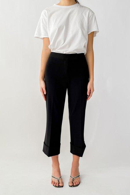Vintage Caché Cropped Cuffed Hem Trousers - Black