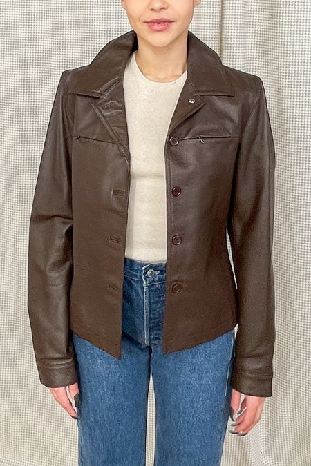 Vintage Structured Leather Jacket - cocoa