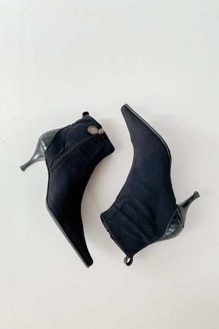 Vintage Donald Pliner Reptile Embossed Kitten Heel Boot