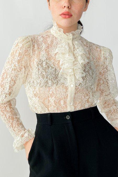 Vintage Lace Ruffle Blouse - Ivory
