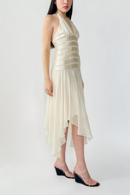 Vintage Silk Sheer Layered Halter Dress - Ivory