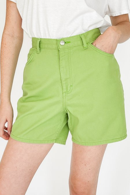 Vintage High Rise Denim Shorts - Lime