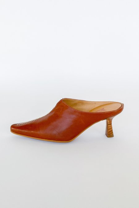 Vintage Leather Contrast Stitch Mules - Mahogany