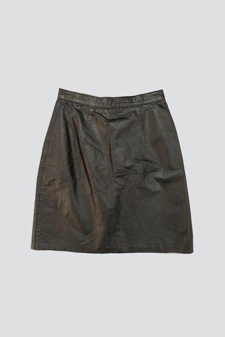 Vintage Leather Short Skirt - Black
