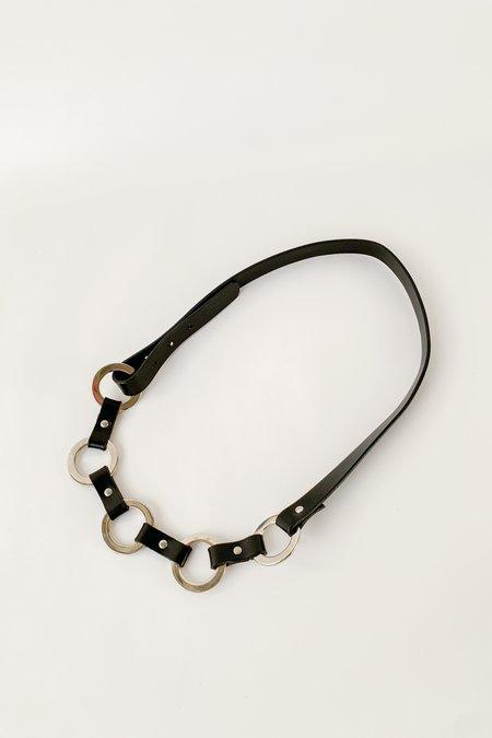 Vintage Loop Leather Belt - silver