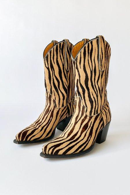 Vintage Print Pony Hair Cowboy Boots - Zebra