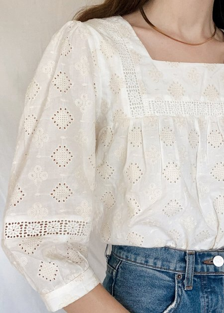 Mabel and Moss Juliana Natural Embroidered Blouse - White