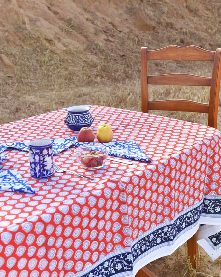 SZ Blockprints Bagru Stamp Tablecloth - Poppy Red/Cotton Candy
