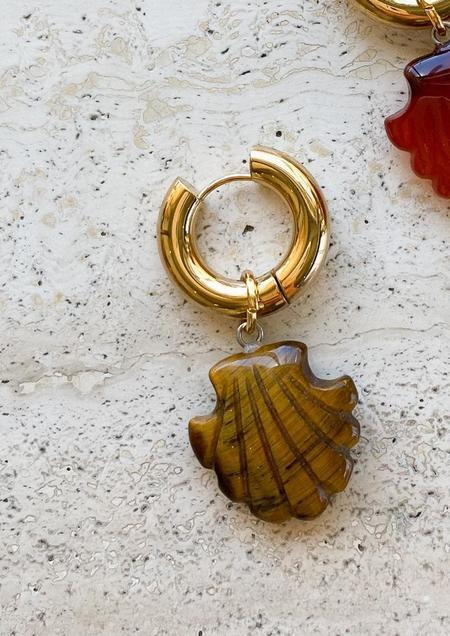 Notte Jewelry Shell We Dance In Tiger Eye Single Earring