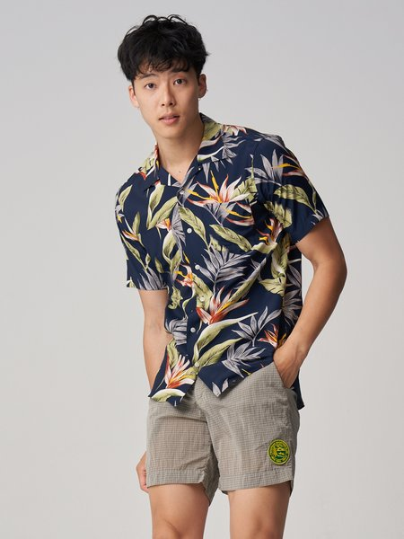 Freemans Sporting Club Short Sleeve Camp Collar Shirt - Floral Print
