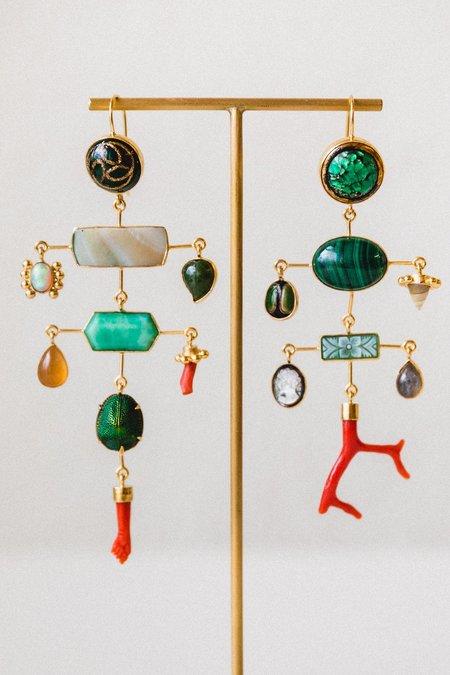 Grainne Morton Multilayer Coral Balance Drop Earrings