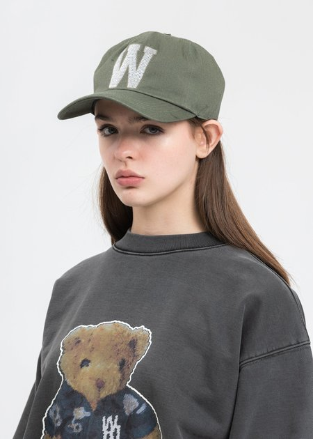 we11done Sequins Patch Embroidered Cap - Khaki
