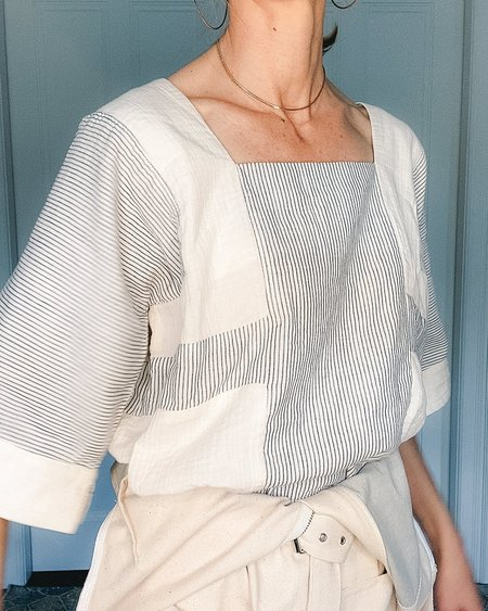 Atelier Delphine Block Top - Blue Stripe