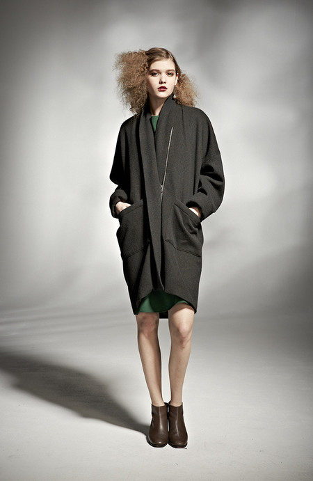 H. Fredriksson W 15 Round Coat Black Wool