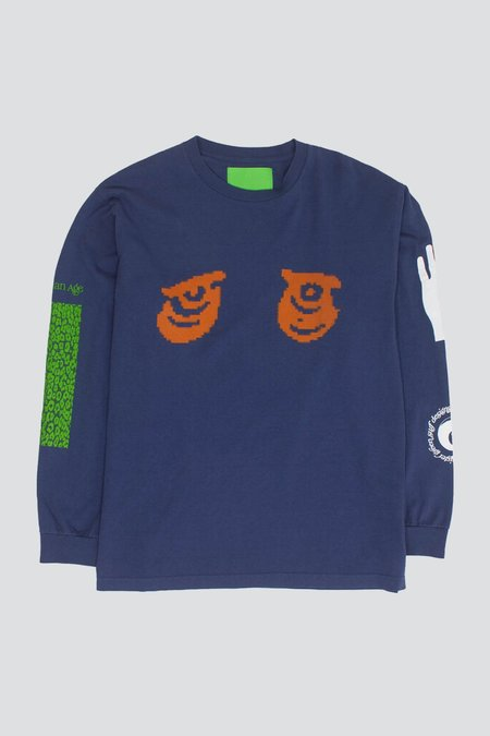Mister Green Aquarian Collage L/S Tee - Warm Blue