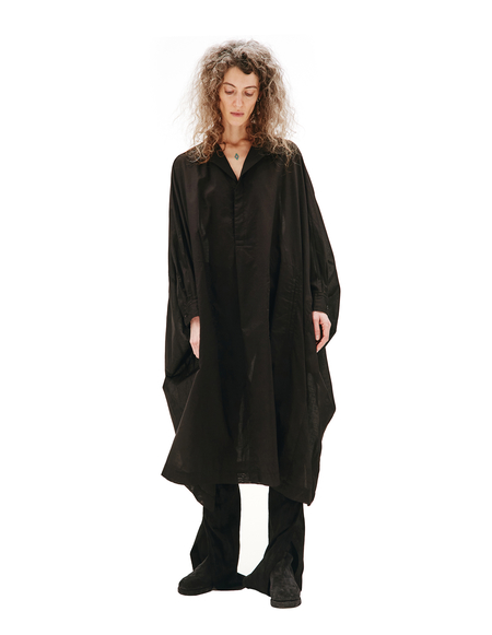 Y's Cotton Lawn Big Shirt Dress - Black
