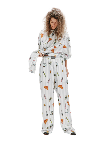 Vetements Pajama Printed Trousers - White