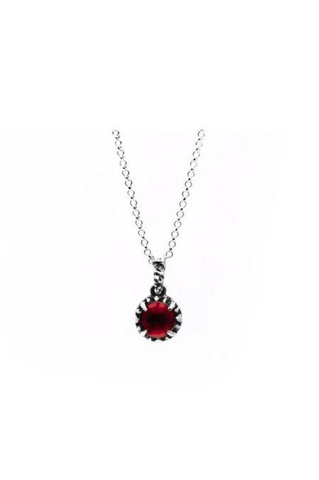 Angela Monaco Matrix Halo Necklace - Silver/Garnet