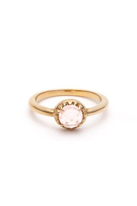 Angela Monaco Matrix Halo Ring - Gold/Rose Quartz