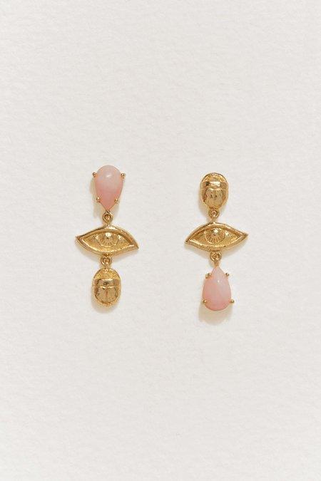 Pamela Love Teardrop Earrings - Gold/Pink Opal