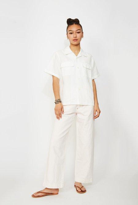 CHIMALA Linen Herringbone Collar Shirt - Off White