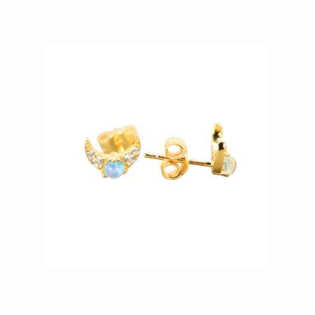Slate Opal Pave Moon Studs - Gold