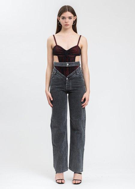 Y/project Crystal Rhinestone Jeans - Dark Grey