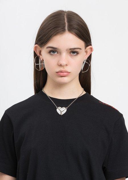 Y/project Shield Y Heart Necklace - Silver