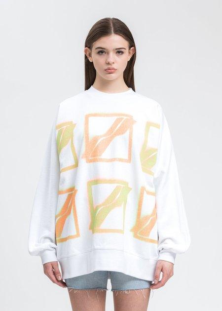 we11done Multi Color Logo Sweater - White