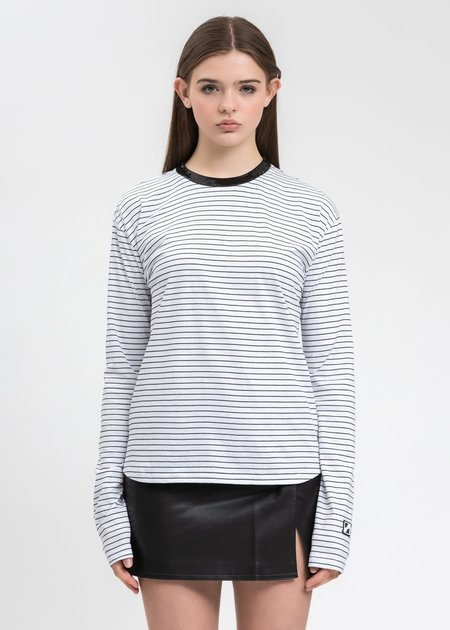 we11done Sequins Trim Neck Stripe Long Sleeve top - White