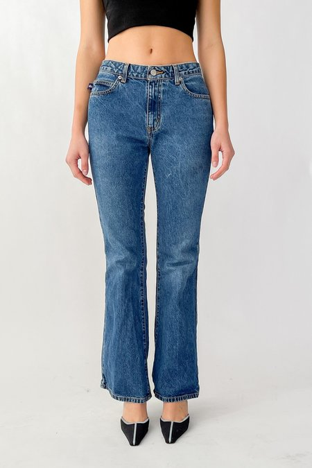 Vintage Medium Wash Baby Flare Denim - blue