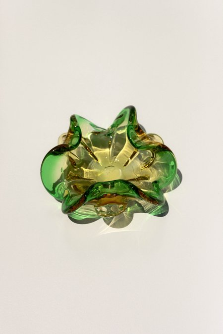 Leigh Collective Sculptural Murano Catchall - Green/yellow