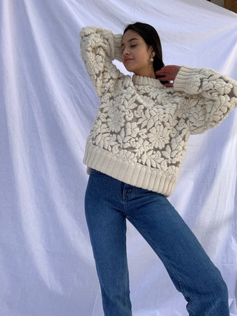 Hand-Embroidered Floral Sweater